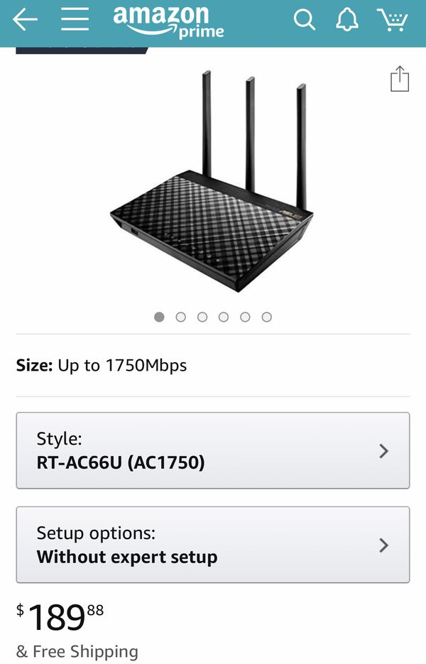 ASUS Dual-band 3x3 AC1750 Wifi 4-port Gigabit Router with speeds up to 1750Mbps & AiRadar