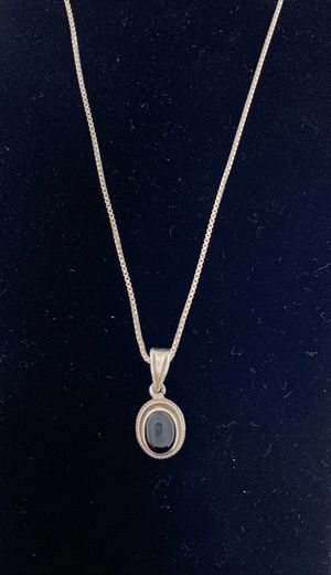 Stamped and Tested Silver Onyx Pendant Necklace for Sale in Tacoma, WA