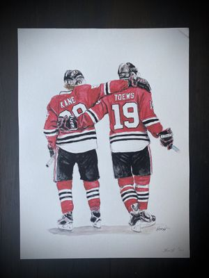 11X15 Chicago Blackhawks Handmade Watercolor Painting for Sale in Fullerton, CA