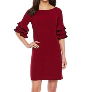 Danny & Nicole Red long sleeve flare ruffled sleeve midi stretchy comfy crewneck dress small women's for Sale in Fenton, MO