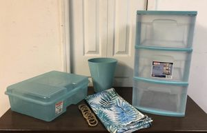 All the set, plastic storage buckets , bathroom curtains with hooks and a small basket for Sale in FL, US