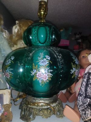 Vintage lamp glass aquamarine with flower details like new condition for Sale in Kansas City, MO