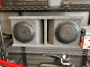 """JL AUDIO PAIR 10W1V2.4 10"""" PRO WEDGE BOX 500/1 MONO AMP AMPLIFIER for Sale in North Miami, FL"""