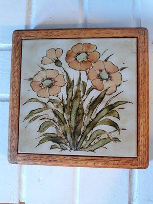 Vintage wooden framed ceramic trivet for Sale in Seattle, WA