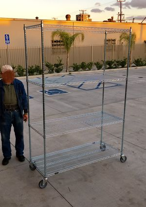 Brand new in box 7.5 feet tall 24x60x90 inches tall 1000 lbs capacity heavy duty garage storage shelve organizer with locking wheels for Sale in Pico Rivera, CA