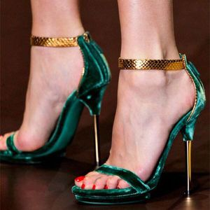 FSJ Size8 Brand New Green Velvet Stiletto Gold Ankle Strap Sandals for Sale in Las Vegas, NV