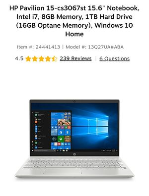 "HP Pavilion 15-cs3067st 15.6"" Notebook, Intel i7, 8GB Memory, 1TB Hard Drive (16GB Optane Memory), Windows 10 Home for Sale in San Bernardino, CA"
