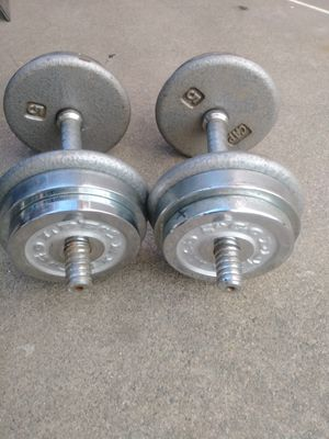 30LB Adjustable Dumbbells with spinlock weights for Sale in Upland, CA