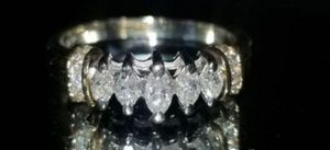 Stunning 14K White/yellow gold genuine .48CTW Marquis diamond and round diamond ring size 7.5 for Sale in Lake Stevens, WA