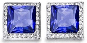 Tanzanite & Diamond Earrings ~ 4.5ct Princess Cut for Sale in Mukilteo, WA