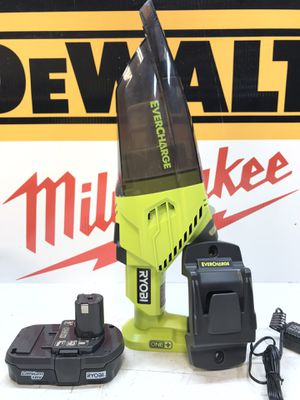 RYOBI 18-Volt ONE+ Lithium-Ion Cordless EVERCHARGE Hand Vacuum Kit with 1.3 Ah Compact Battery and Wall Adaptor/Charger for Sale in Bakersfield, CA