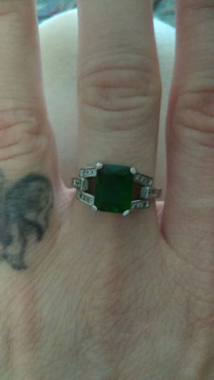 Beautiful 925 emerald & diamonds size 7 ring, earings, and pendant with chain for Sale in West Valley City, UT