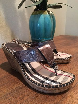 BURBERRY METALLIC Leather Check Espadrilles - 38/8 for Sale in Reedley, CA
