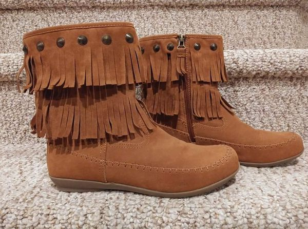 NEW Women's Size 9.5 Comfortview Boots [Retail $99.99] Moccasin Bootie Studded, Fringe, w/ Zipper