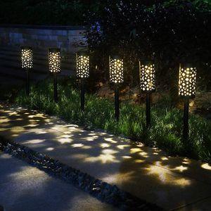 6 Pack Light Outdoor Garden Patio Pathway Landscape Yard Driveway Lawn Walkway Star Moon Solar Lantern Waterproof Path Hanging Sidewalk Courtyard for Sale in Marquette, MI
