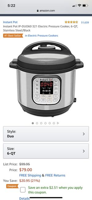 Instant pot 6 quart for Sale in Royersford, PA