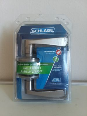 Schlage Hall & Closet Non Locking Brass Door Handle, FA10 V MER 619 Satin Nickel for Sale in Hyattsville, MD