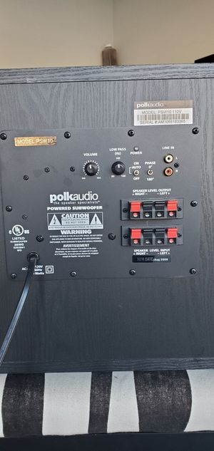 Polk Audio Powered Subwoofer Model PSW10 Black 110V for Sale in Mableton, GA