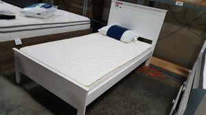 TWIN SIZE Wood Platform Bed with Headboard / No Box Spring Needed / Wood Slat Support, White| 7582T-WH for Sale in Santa Ana, CA