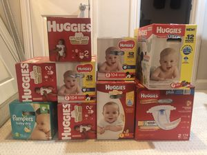 Brand new, unopened Size 2 diapers for sale (non-negotiable) - UPDATED for Sale in Houston, TX