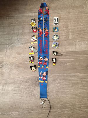New Disney Mickey Lanyard with 12 tradable Mickey pins! for Sale in FL, US