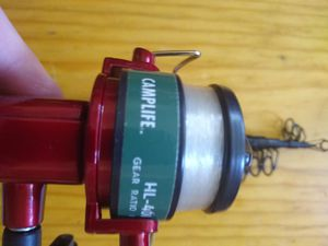 Used Camplife HL-401 Fishing Reel-Red-Gear Ration 1:2.92 & Rod 55 inches length for Sale in Port Orchard, WA