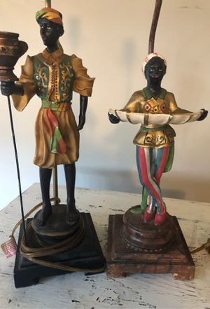 Antique pair of Blackmoor lamps for Sale in Langhorne, PA
