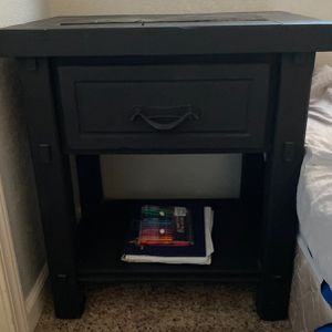 2 Black End Tables (identical) Wood Oak - One Is Missing The Hardware To Open The Drawer for Sale in Fresno, CA