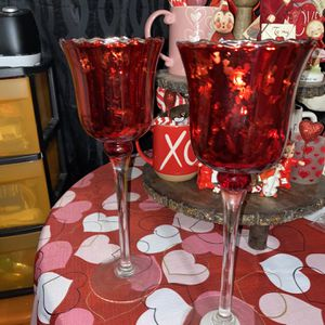 Red Glass Candle Holder for Sale in Copiague, NY