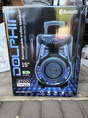 """New Dolphin 15"""" rechargeable trolley Bluetooth speaker with stand and remote for Sale in Riverside, CA"""