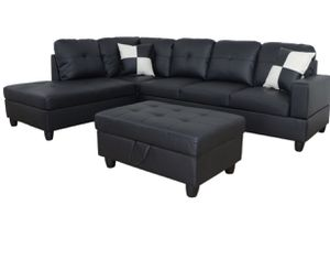 Black leather Sectional Sofa with ottoman. NEW for Sale in Oakland, CA