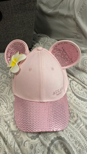 Pink sequin Disney Mikey ears hat Aulani Hawaiian flower for Sale in San Diego, CA