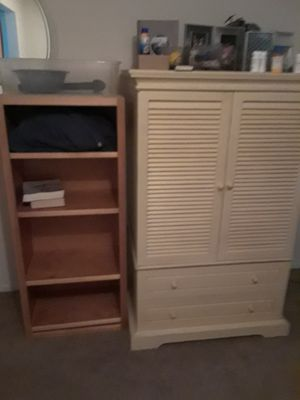 Pier 1 Imports armoire awesome shape. And wood shelf cabinet for Sale in Winter Park, FL