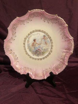 Art Nouveau Maiden and Cherub 1920's Antique Crescent China Decorative Hand-Painted Pink Porcelain Cabinet Portrait Plate Cottage Chic Decor for Sale in Lancaster, CA