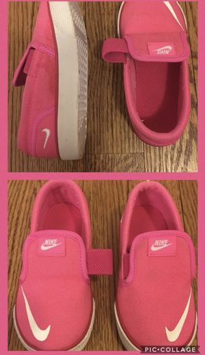 Nike Girl's Toki Slip On Canvas (TDV) Pink/White Shoes- Sneakers - Size 7C (Toddler). for Sale in Rockville, MD