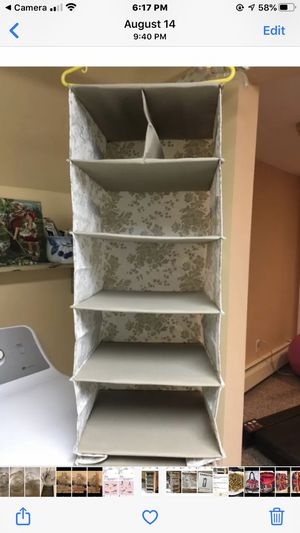 Hanging shoe organizer ( beige with a flower print) for Sale in Plainview, NY
