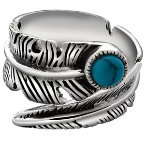 Vintage Style 925 Sterling Silver Turquoise Feather Men's Ring for Sale in Wichita, KS