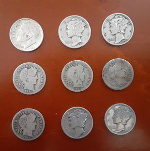 Lot of 9 Silver Dimes, 4 1900s Barber's, 4 1930/40s Mercury and 1 1964 Roosevelt all 90%! for Sale in Albuquerque, NM