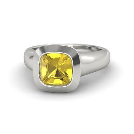 2 Carats Solitaire Yellow Sapphire Ring Gold Jewelry