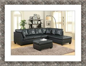 Black sectional with free ottoman and free delivery for Sale in Rockville, MD