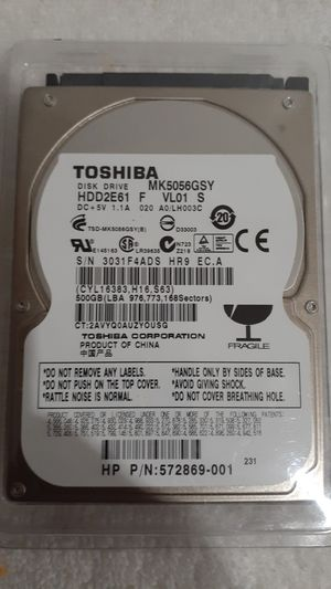 Toshiba 500gb Sata harddrive for Sale in Miramar, FL