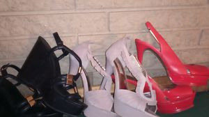 Aldo size 8.5 wedges(black), size 8m Steve Madden heels (tan), size 8m Bebe heels (red) for Sale in Dallas, TX