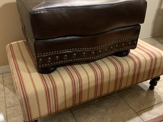 Huge 4 Foot Wide Striped Cotton Canvas Ottoman Coffee Table for Sale in Scottsdale,  AZ