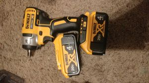 Dewalt 20v xr 3/8 inch impact wrench with hog tie anvil and two 20v 4ah batteries for Sale in Watauga, TX