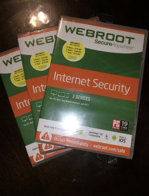 3 X Webroot SecureAnywhere Internet Security Windows 10 (3 devices, Brand New) for Sale in Tujunga, CA