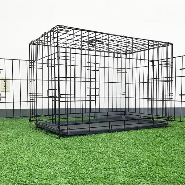 "Brand New $35 Folding 30"" Dog Cage 2-Door Folding Pet Crate Kennel w/ Tray 30""x18""x20"""