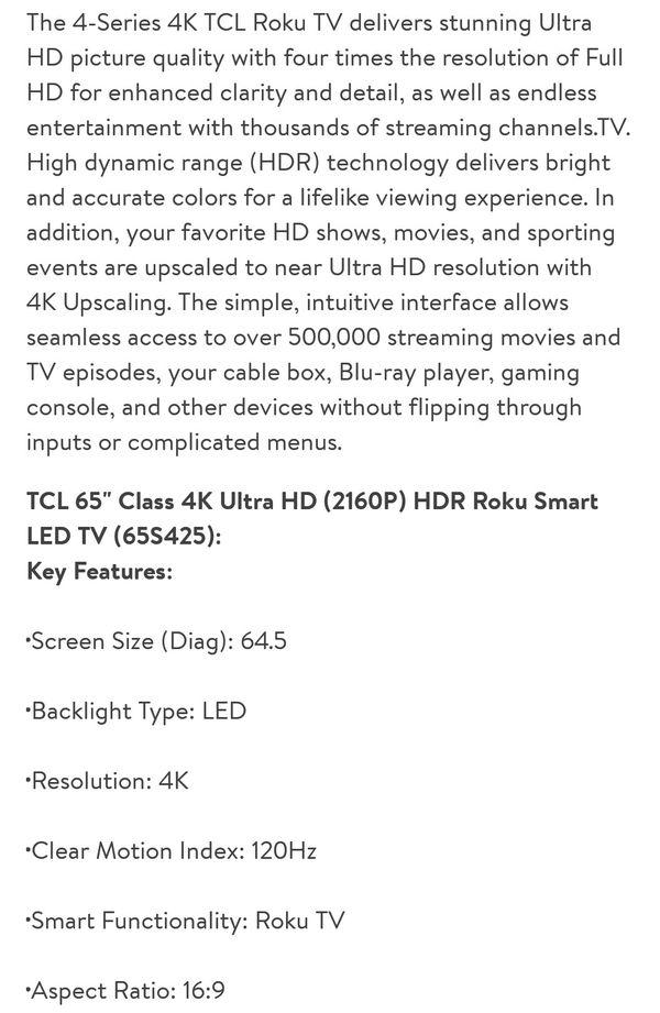 "65"" 4K Roku SMART TV Brand New"