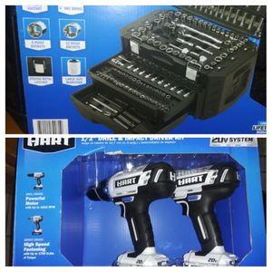 Hart combo 20v drill & impact set & 215pcs tool box set for Sale in Wilmington, CA