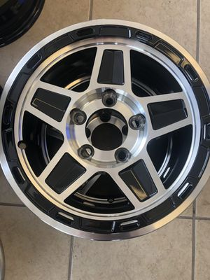 "Trailer rim aluminum on sale. We have tire combos 13"" 5 lug, 14"" 5 lug, 15"" 5 lug. for Sale in Plant City, FL"
