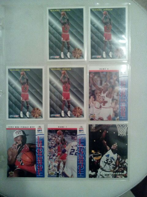 4 fleer 93-94 League Leaders #224 also Game #1card#198 and Game #4 card# 2011993 NBA finals cards and one MVP #204 NBA card.